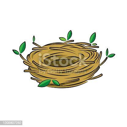 Vector illustration of bird nest isolated on white background.