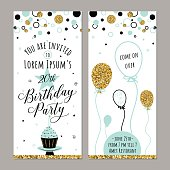 Vector illustration of birthday invitation. Face and back sides. Party