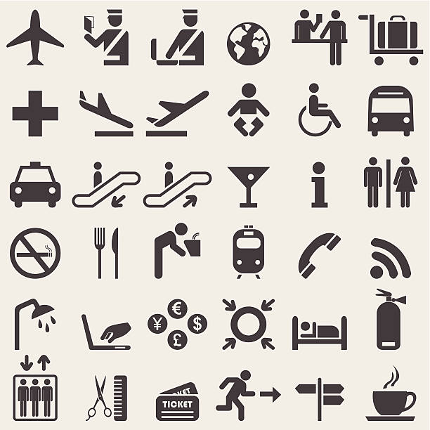 Vector illustration of black airport icons Airport  complete icons set. Vector customs official stock illustrations