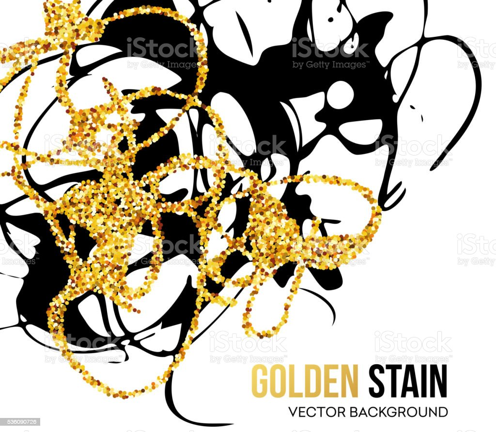 Vector Illustration of Black and Golden Marbling Texture vector art illustration