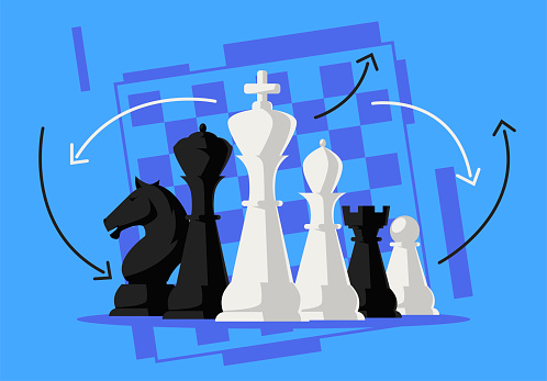 Vector illustration of black and white chess pieces led by the king in the foreground, Queen, Bishop, pawn,rook, knight, chessboard outline in the background