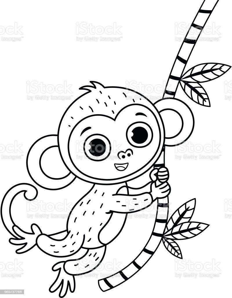 흑인과 백인 귀여운 원숭이의 벡터 그림입니다. - 로열티 프리 검정 벡터 아트