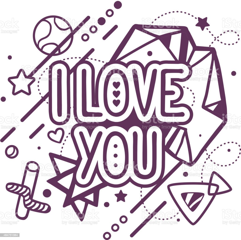 Vector Illustration Of Black And White I Love You Quote