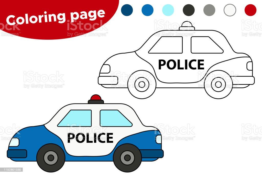 Siyah Ve Beyaz Polis Arabasi Vektor Illustration Stok Vektor