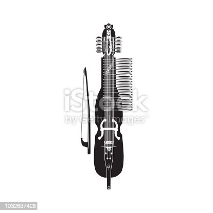 Vector illustration of traditional swedish nyckelharpa. Black and white musical instrument isolated on white background.