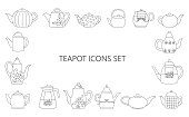 Graphic tea set. Teapot icons collection. Monochrome kettles isolated on white background. Vintage doodle style drawing.