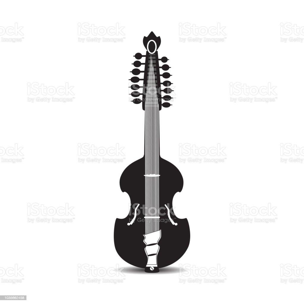 Vector illustration of black and white viola guitar vector art illustration