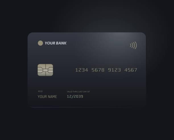 vector illustration of black credit card mock up isolated on black background. - credit card stock illustrations