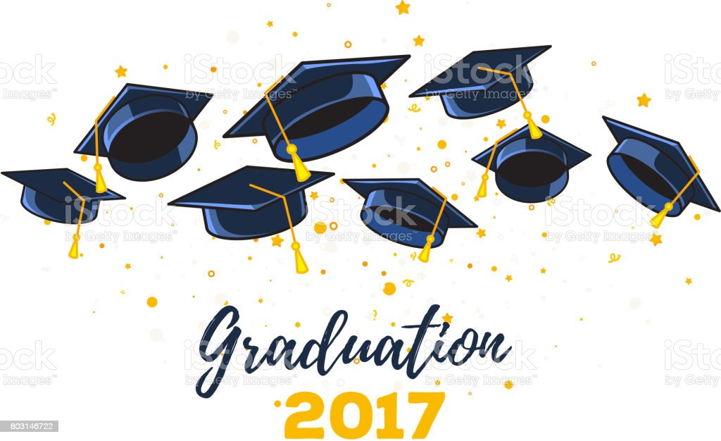 vector illustration of black graduate caps and yellow confetti on a