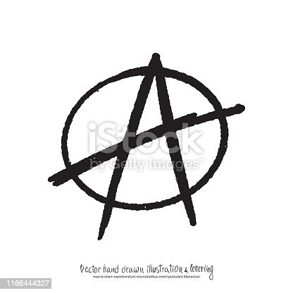 Vector illustration of black hand drawn anarchy sign.