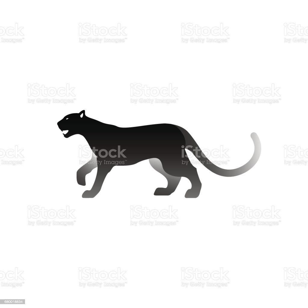 Vector illustration of black panther. Isolated on white background. Icon icon panther side view.