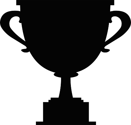 Vector illustration of black silhouette of a trophy cup