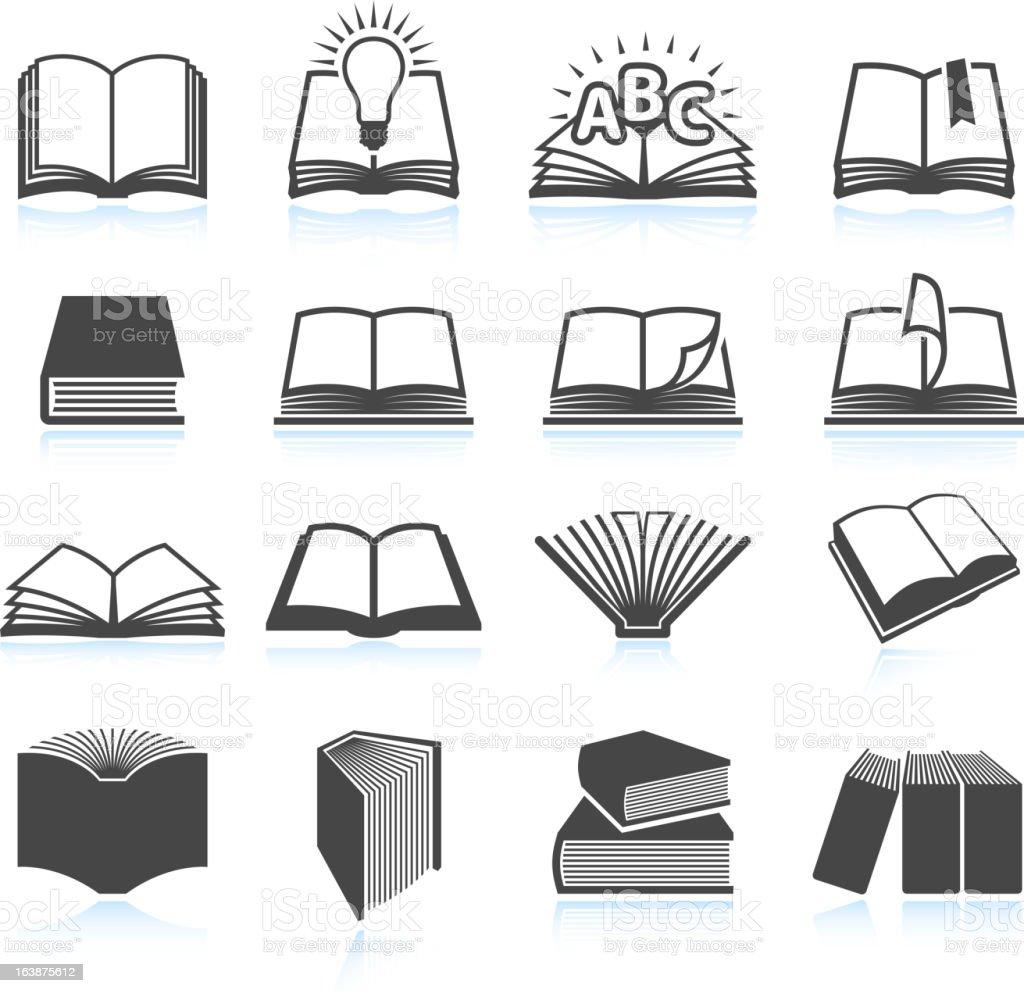 Vector illustration of black textbook icons vector art illustration