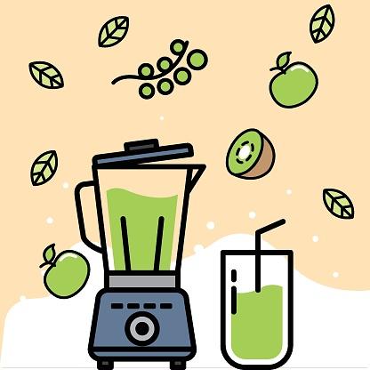 Vector illustration of blender, fruits, vegetables and drinks (green smoothie)