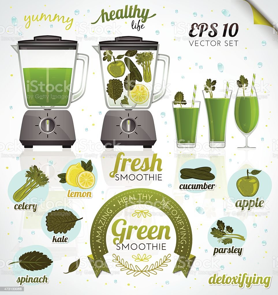 Vector illustration of blender, fruits, vegetables and drinks (green smoothie) vector art illustration