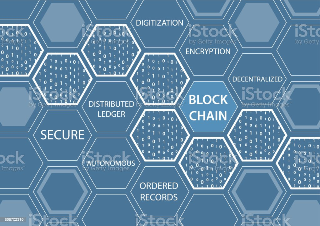Vektor-Illustration der Blockchain Konzept mit blauem Hintergrund. Sechseckige Formen verbunden. – Vektorgrafik
