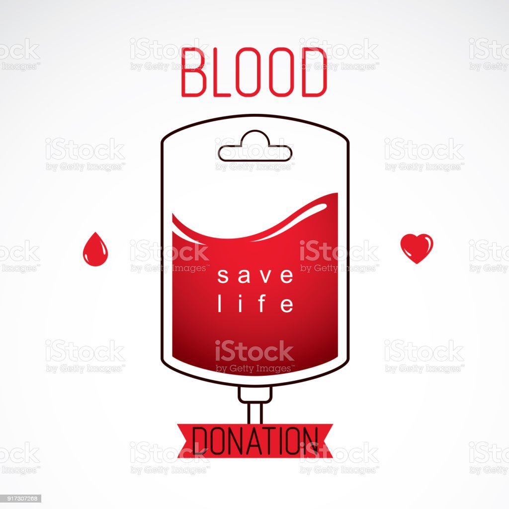 vector illustration of blood bag prepared for blood donation charity