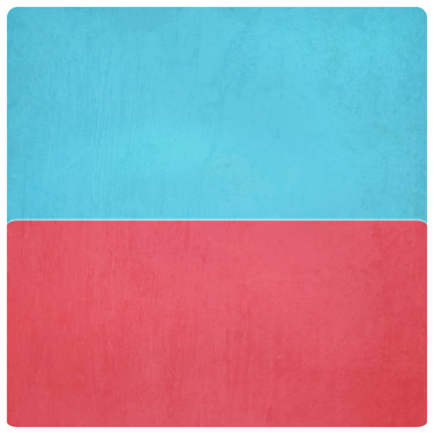 Vector Illustration of blue and red colored plain grungy background, horizontal half and half Old grungy paper background, the top part being beige, yellow and the bottom band is red, rose pink colored. - suitable to use as wallpaper, background, vintage post cards, letters, manuscripts etc. The pink grunge is pastel, pale,  soft and romantic. No text. No people. Copy space. bad condition stock illustrations