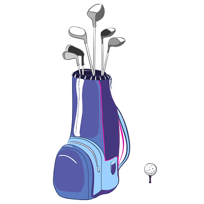 Vector illustration of blue and violet golf bag vertical layout with golf clubs on a white background