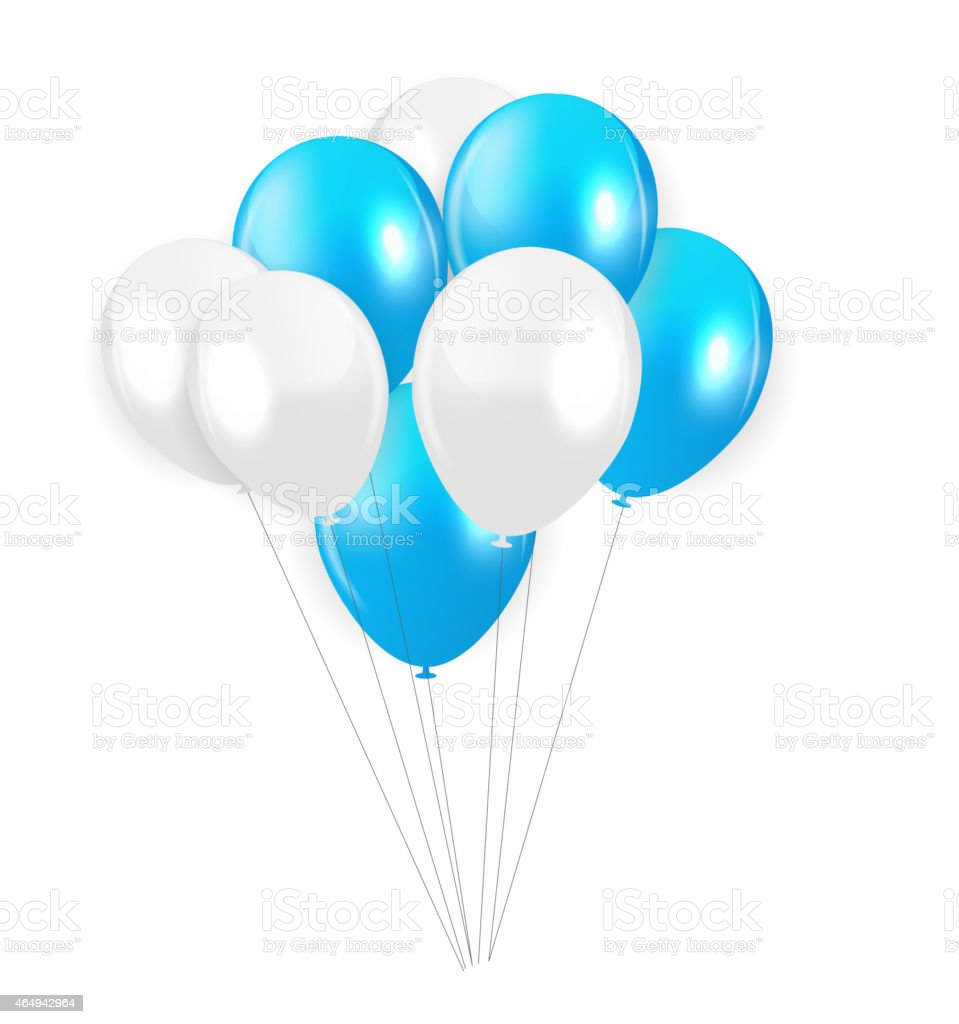 Vector illustration of Blue and white colored balloons vector art illustration