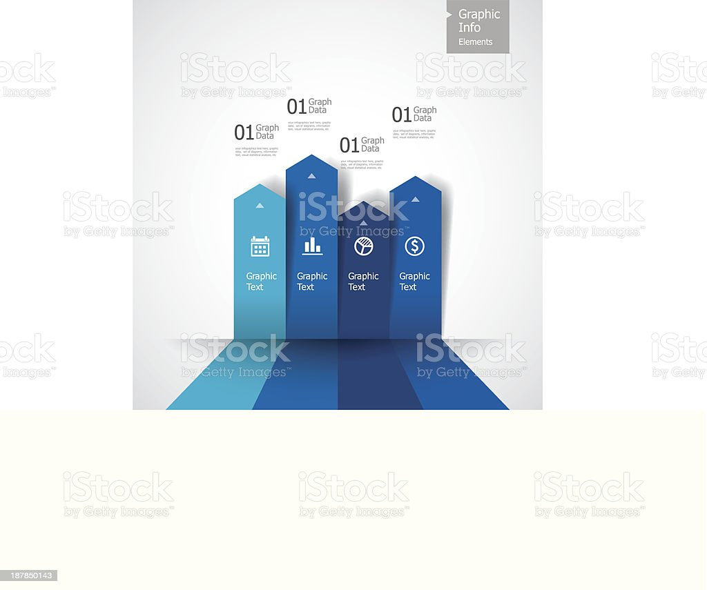 Vector illustration of blue bar graph vector art illustration