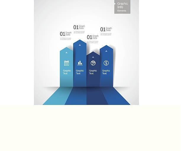Vector illustration of blue bar graph vector art illustration