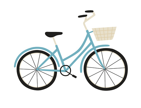 Vector illustration of blue city bicycle with a basket, isolated on white.