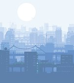 Vector illustration of blue colored urban environment view.