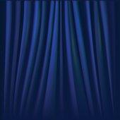 Vector illustration of blue curtain.