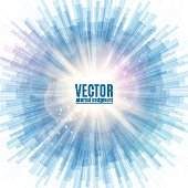 Vector illustration of blue line rounded abstract background with blur light rays and glare at the centre