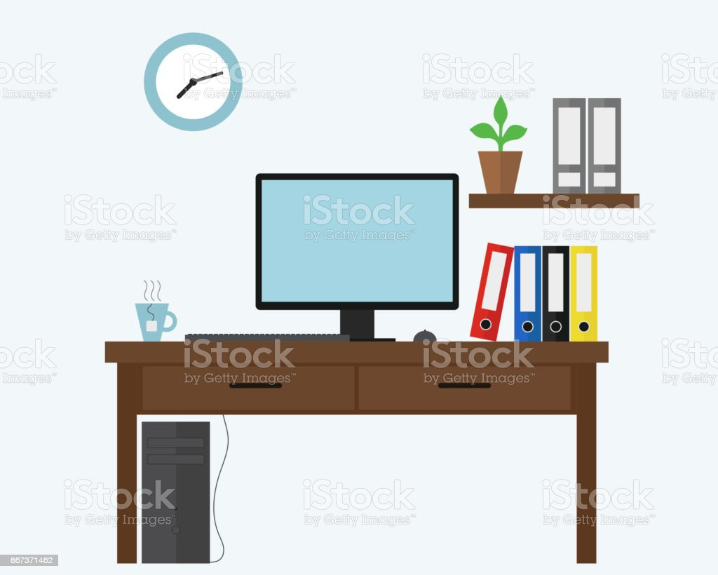 Vector illustration of blue office with computer under desk, files and document boxes and a cup of hot tea