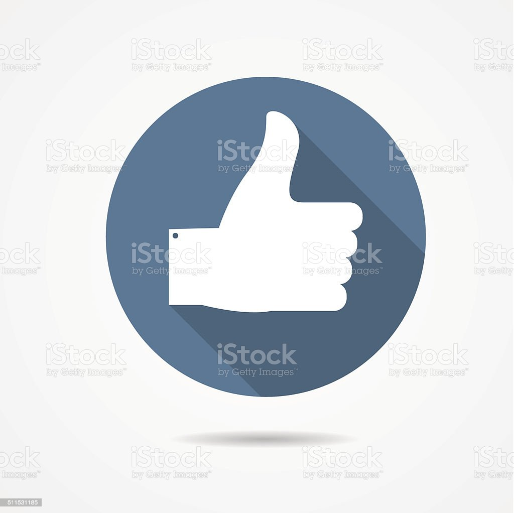 Vector Illustration of Blue Thumb Up Icon with Long Shadow vector art illustration