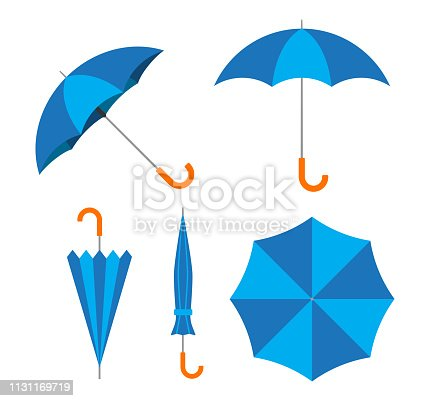 Vector illustration of blue umbrella vector set on white background
