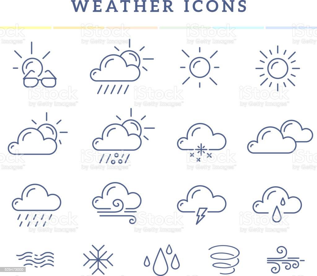 Vector illustration of blue weather theme icon set vector art illustration
