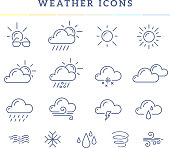 Vector illustration of blue weather theme icon set