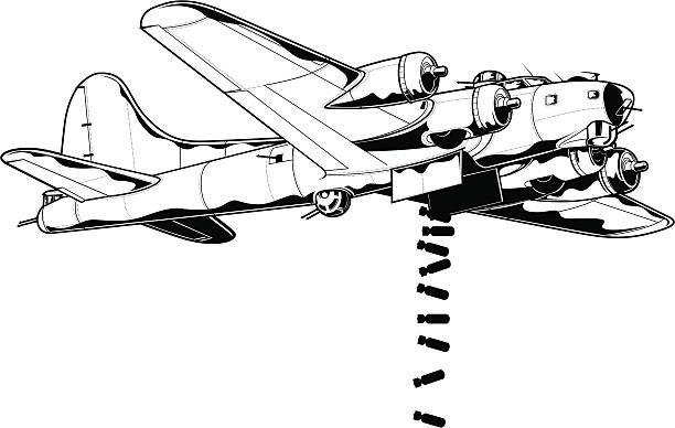 Vector illustration of bomber airplane Vector illustration of WW2 bomber dropping bombs. bomber plane stock illustrations