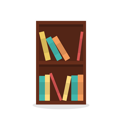 Vector illustration of bookcase isolated on white background.