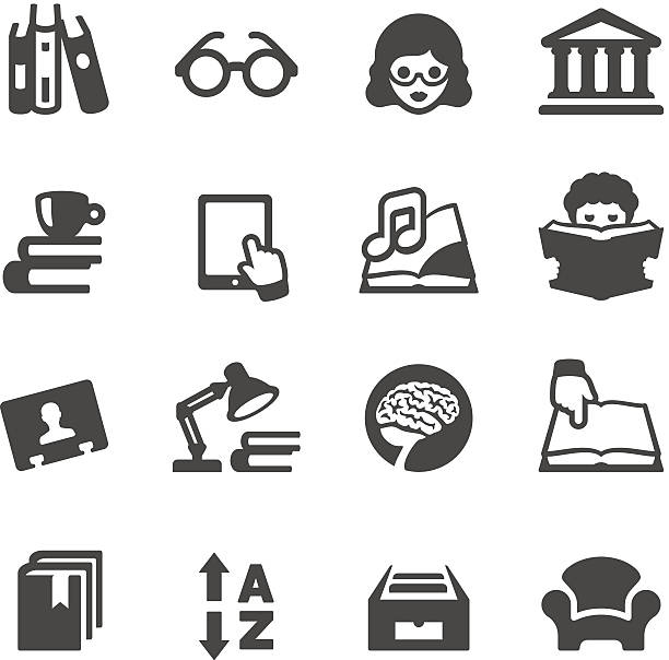 Vector illustration of books and library icons Mobico icons collection - Book reading and Library. book club stock illustrations
