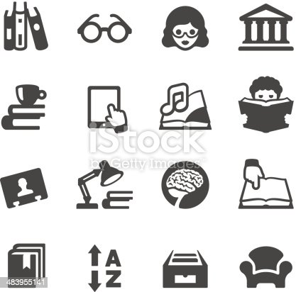 Vector Illustration Of Books And Library Icons Stock