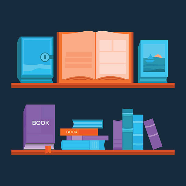Vector illustration of bookshelf. Vector illustration of bookshelf. Template banner reading books and education. Collection of elements for design. Background for web pages, invitation cards, covers, posters. book club stock illustrations