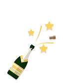 Vector Illustration of bottle of champagne popping its cork and splashing with golden star on white background. Design in a flat style.