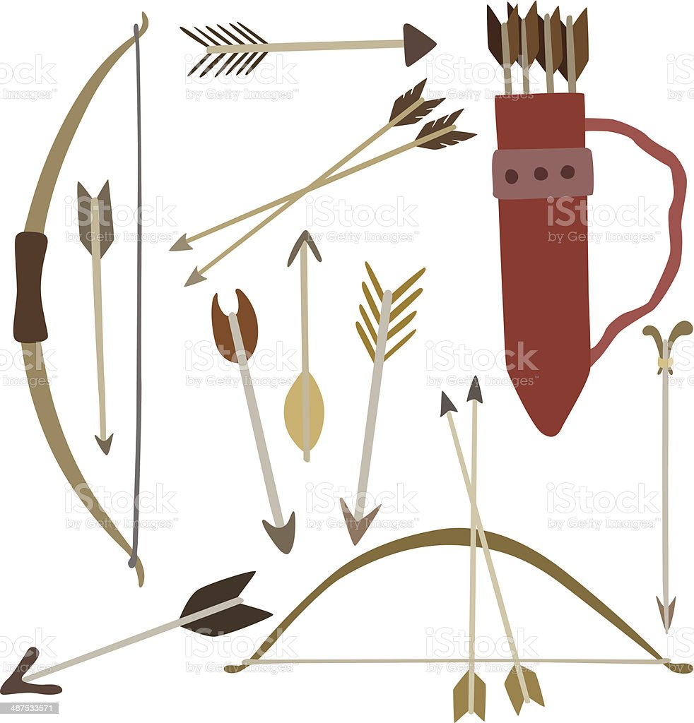 Vector Illustration Of Bow And Arrows stock vector art ...