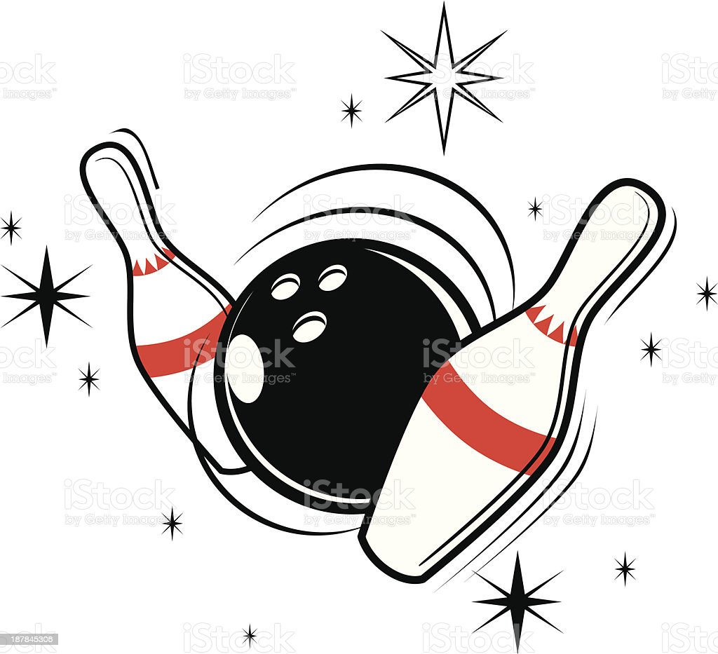 Vector illustration of bowling ball and pins vector art illustration