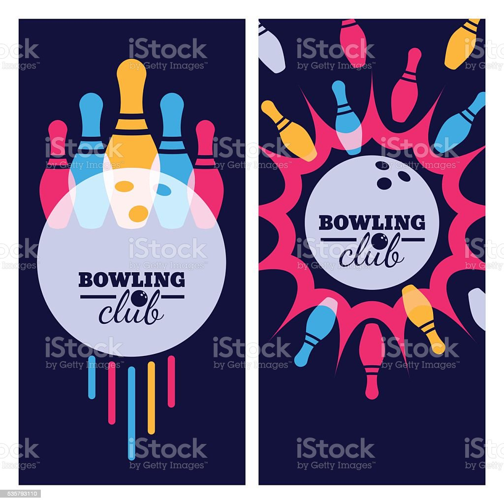 Vector illustration of bowling. Bowling ball, pins on black background. vector art illustration
