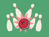 Retro vector illustration of bowling strike on the green background. Bowling pins and bowling ball. Vector eps format 10 is available.