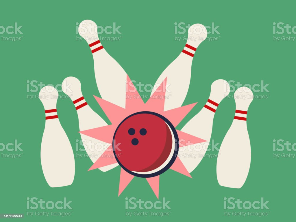 Vector illustration of bowling strike on the green background vector art illustration