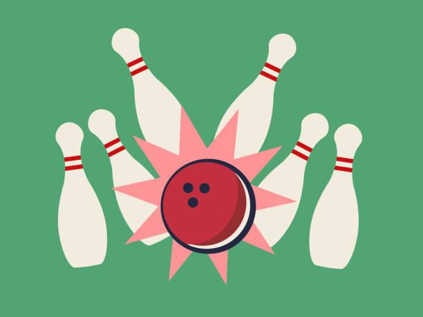 Vector illustration of bowling strike on the green background vector art illustration