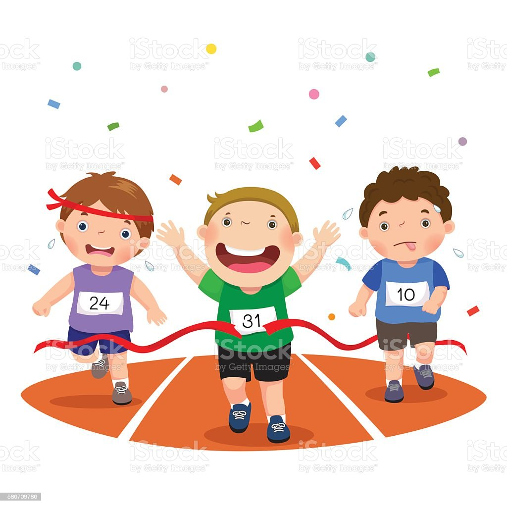 Track Winner: Vector Illustration Of Boys On A Race Track On A White