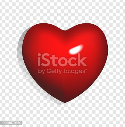 Vector illustration of bright red 3d heart isolated on transparent background. Can be used for wedding, poster, invitation, greeting card and web banner. Romantic element of love and Valentines day.