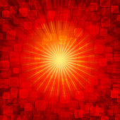 Vector illustration of bright yellow centrally aligned sunburst over a red vibrant background.. A reddish maroon vibrant background . There are small glittery in red, maroon.